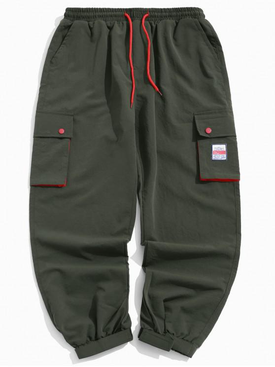 women Color Block Splicing Applique Multi-pocket Jogger Pants - ARMY GREEN XL