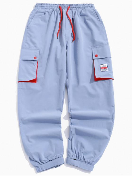 shops Color Block Splicing Applique Multi-pocket Jogger Pants - LIGHT BLUE XS
