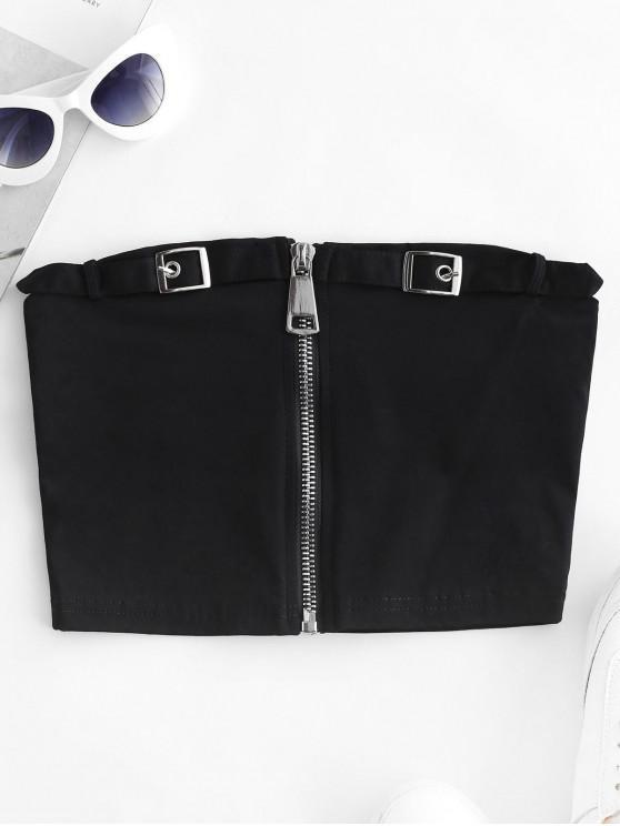 fancy Solid Buckle Zip Up Bandeau Top - BLACK L