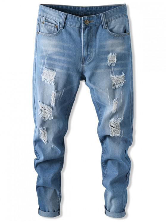 Jeans Casual Rasgados Recto - Azul Denim 32