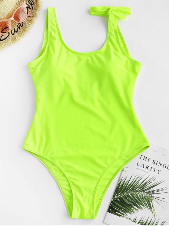 women's ZAFUL Open Back Neon Bowknot One-piece Swimsuit - GREEN YELLOW XL