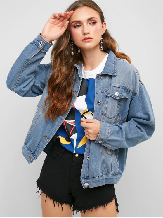 womens Ripped Pocket Denim Jacket - DENIM DARK BLUE M