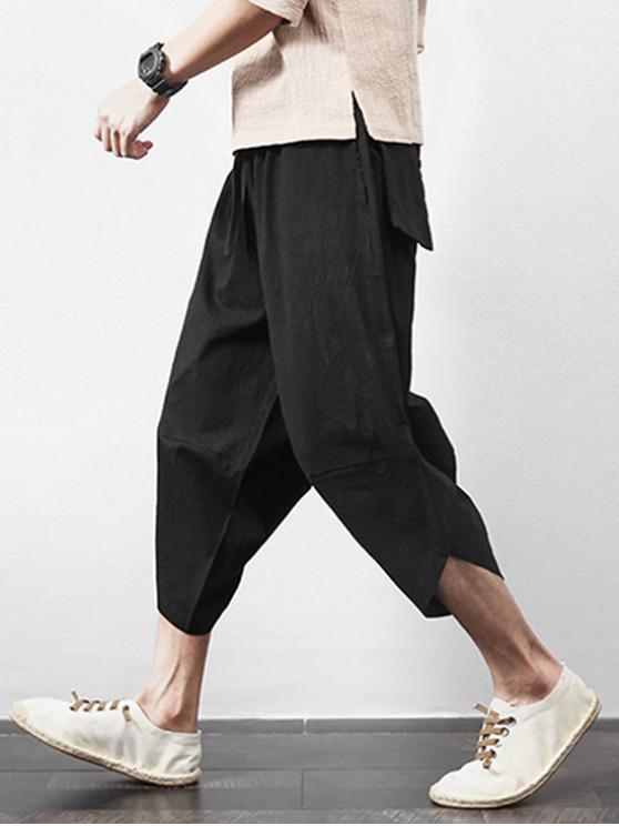 fashion Solid Color Spliced Exterior Pocket Harem Cropped Pants - BLACK L