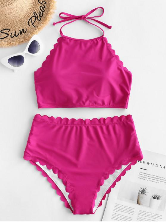 affordable ZAFUL Scalloped Knot Halter Tankini Swimsuit - DIMORPHOTHECA MAGENTA L