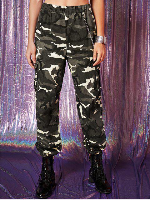 Flap Pockets Cadena Camo Jogger pantalones - ACU Camuflaje XL Mobile