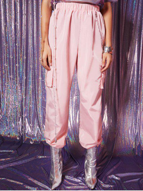Flap Pockets Cadena Windbreaker Jogger pantalones - Lápiz Labial Rosa M Mobile