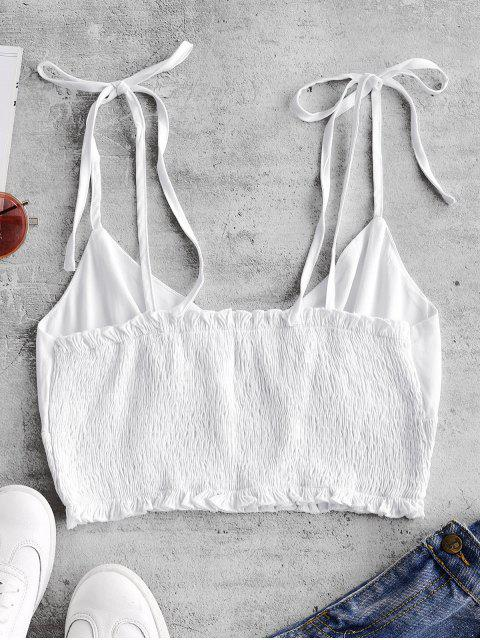 fashion ZAFUL Smocked Tie Shoulder Crop Camisole - WHITE S Mobile