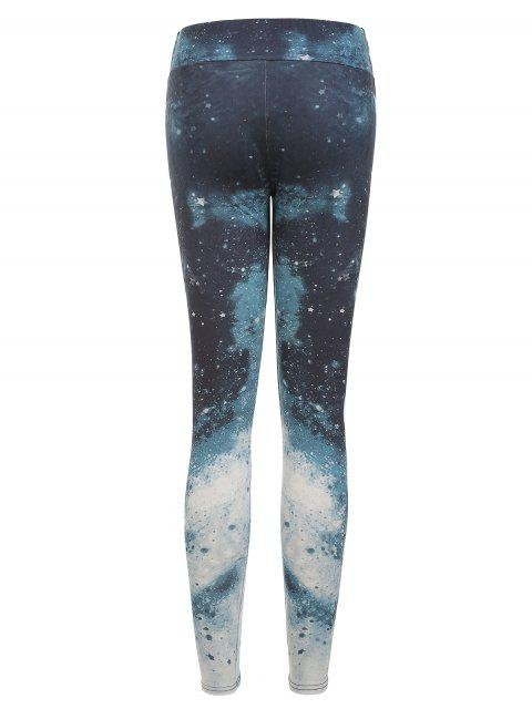 unique Moon Phase Print Starry High Rise Gym Leggings - MULTI-A M Mobile