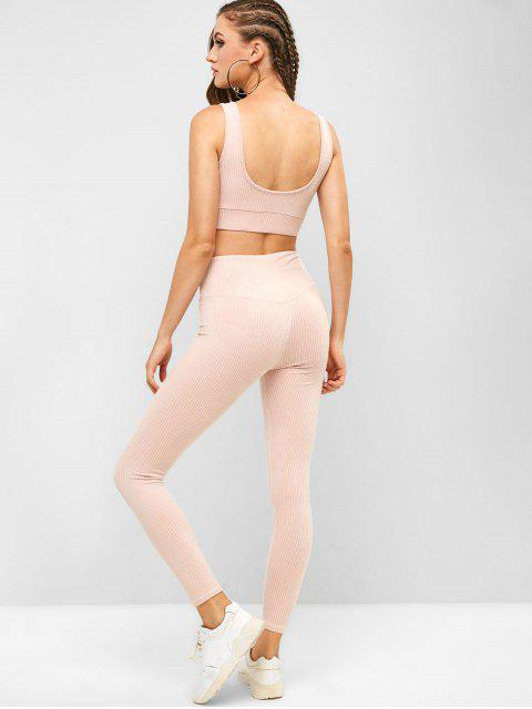 Sujetador de gimnasio a rayas acolchado y conjunto de polainas de gran altura - Rosa Flamenco M Mobile