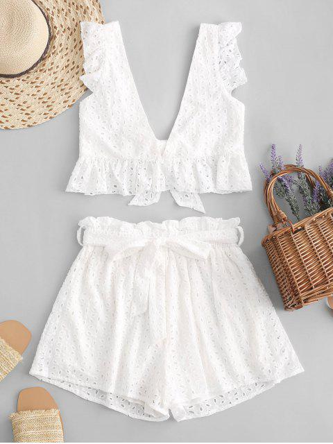 best Eyelet Plunge Belted Paperbag Shorts Set - WHITE S Mobile