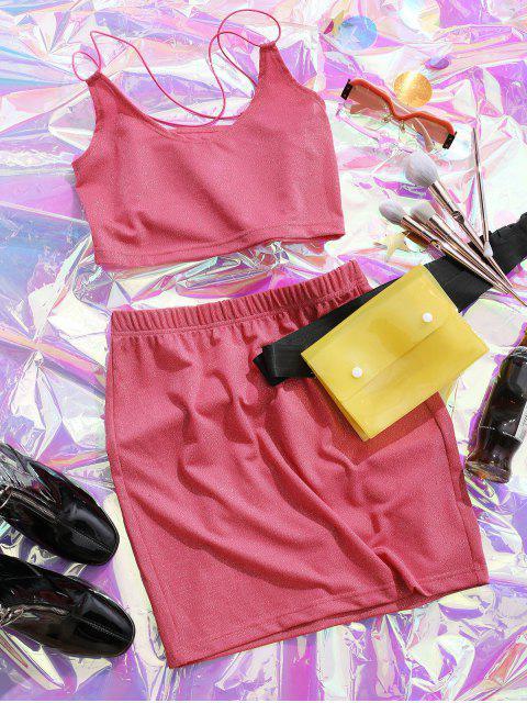 hot ZAFUL Glittery Crisscross Metallic Thread Two Piece Dress - HOT PINK M Mobile
