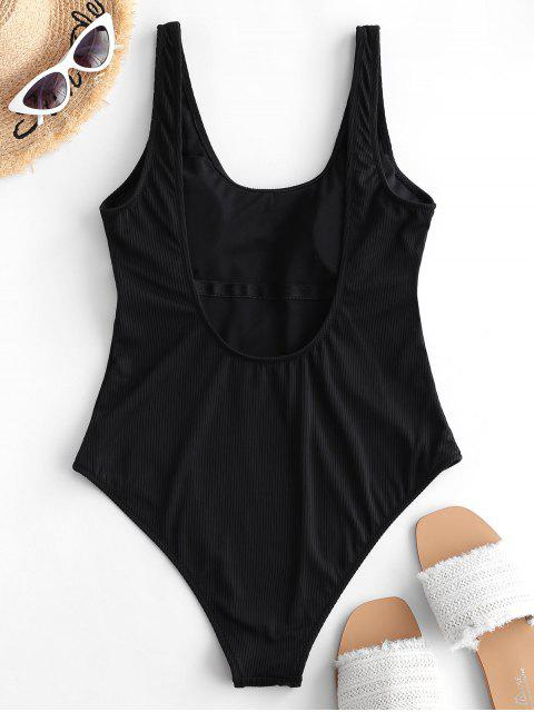 buy ZAFUL Low Back Ribbed One-piece Swimsuit - BLACK L Mobile