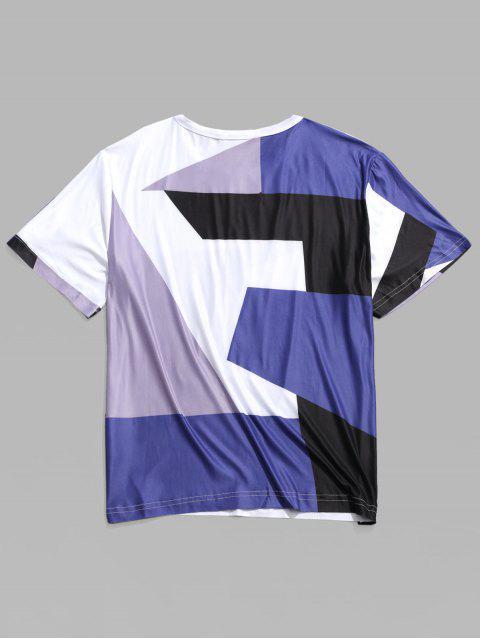 T-shirt Décontracté Géométrique Panneau en Blocs de Couleurs - Multi XL Mobile