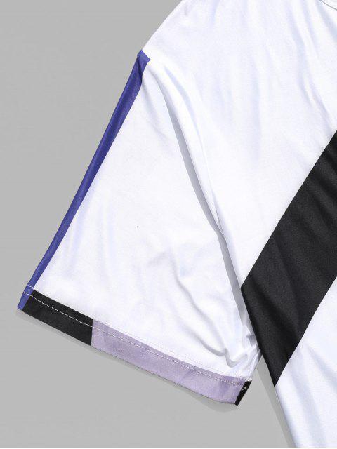 T-shirt Décontracté Géométrique Panneau en Blocs de Couleurs - Multi 2XL Mobile
