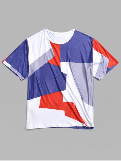 T-shirt Décontracté Géométrique Panneau en Blocs de Couleurs - Multi-A 2XL Mobile