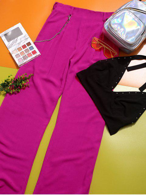 ZAFUL pantalones de colores de cadena plisada - Rosa Roja S Mobile