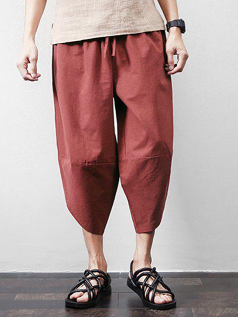 Pantalon Harem Court Jointif en Couleur Unie avec Poche - Rouge Vineux XL Mobile