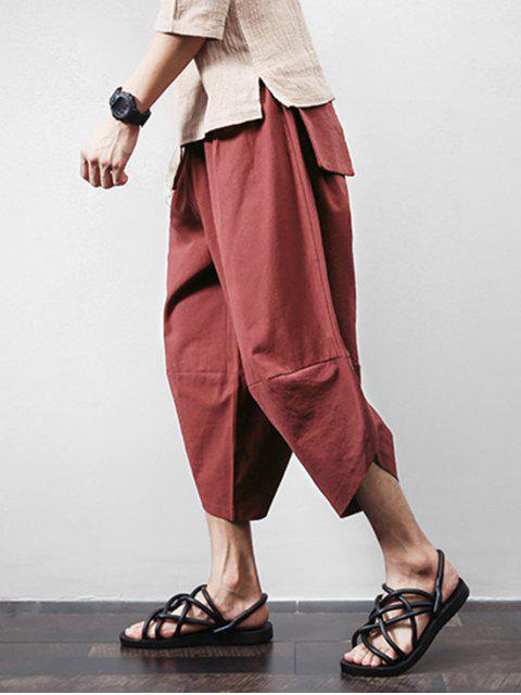 Pantalon Harem Court Jointif en Couleur Unie avec Poche - Rouge Vineux 2XL Mobile