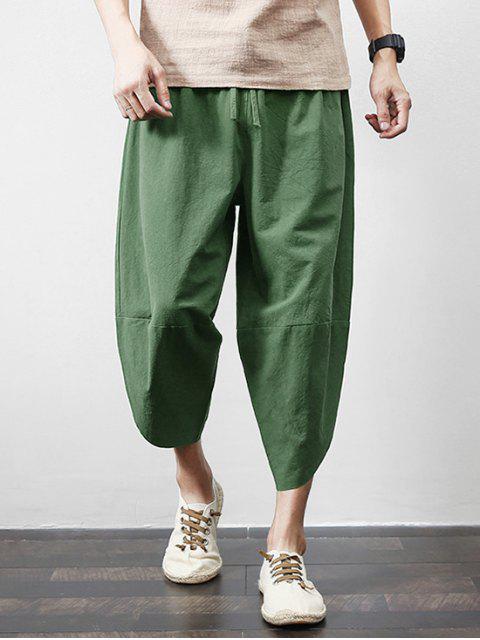 buy Solid Color Spliced Exterior Pocket Harem Cropped Pants - GREEN 2XL Mobile