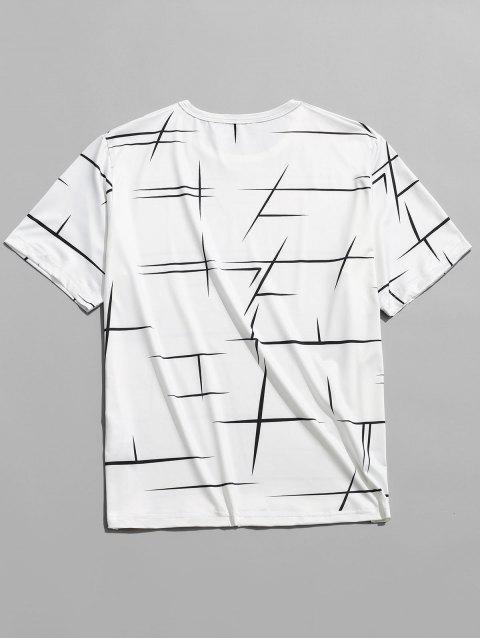 T-shirt Décontracté Ligne Géométrique Imprimée à Col Rond - Blanc L Mobile