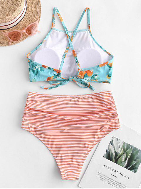 buy ZAFUL Striped Orange Print Criss Cross Tummy Control Tankini Swimsuit - MULTI-A XL Mobile