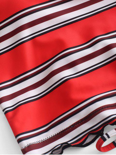 hot ZAFUL Striped Lettuce Trim Lace Up Tankini Swimsuit - MULTI-A L Mobile