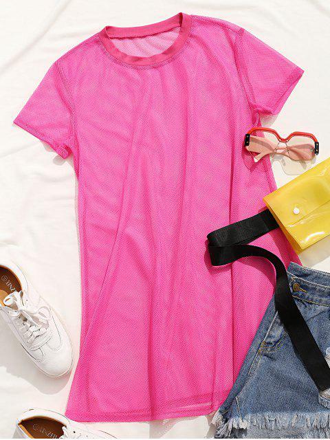 lady ZAFUL Neon Mesh Short Sleeve Mini Dress - WATERMELON PINK M Mobile