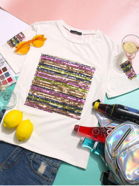 T-shirt Décontracté à Manches Courtes à Paillettes - Blanc XL Mobile