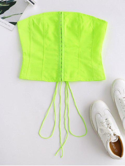 outfit Hook And Eye Lace Up Neon Bandeau Top - TEA GREEN M Mobile