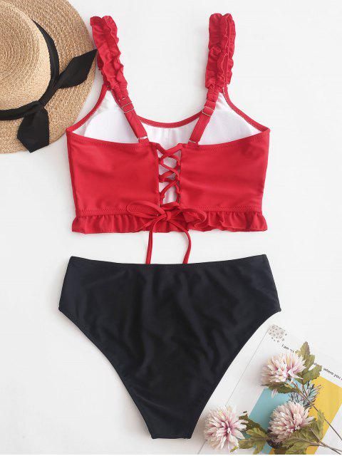 hot ZAFUL Lace Up Ruffle Color Block Tankini Swimsuit - LAVA RED L Mobile
