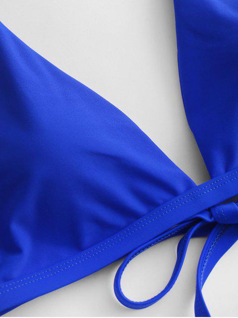 ZAFUL Maillot de Bain Bikini Plongeant Noué au Dos à Jambe Haute - Bleu Cobalt L Mobile