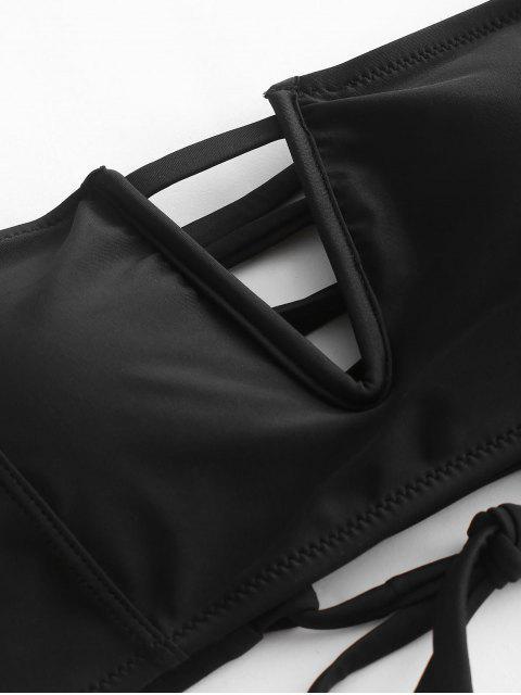 ZAFUL Maillot de Bain Bikini Bandeau à Armature en V à Lacets - Noir M Mobile