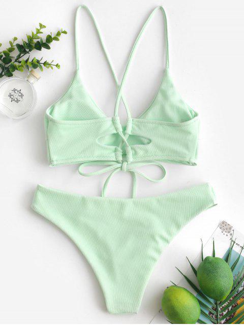 trendy ZAFUL Criss Cross Textured Padded Bikini Swimsuit - MINT GREEN S Mobile