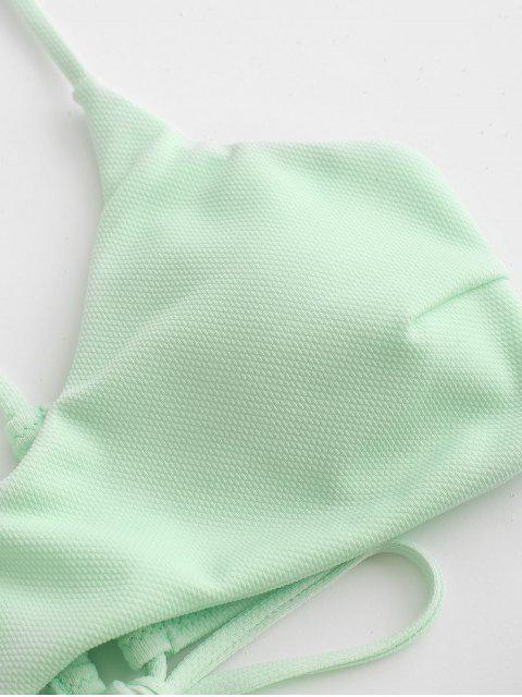 ZAFUL Maillot de Bain Bikini Rembourré Texturé Croisé - Vert Menthe L Mobile