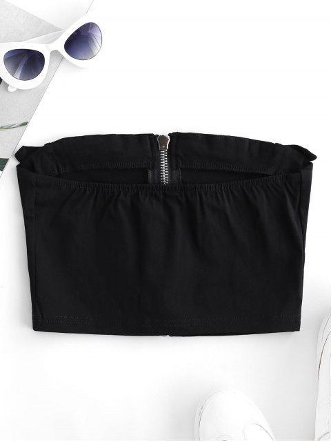 fancy Solid Buckle Zip Up Bandeau Top - BLACK L Mobile