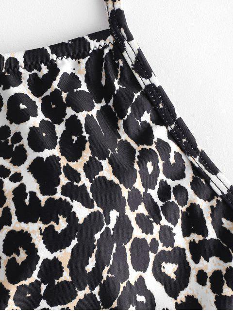 hot ZAFUL Crisscross Ruched Leopard Tankini Swimsuit - MULTI-A L Mobile