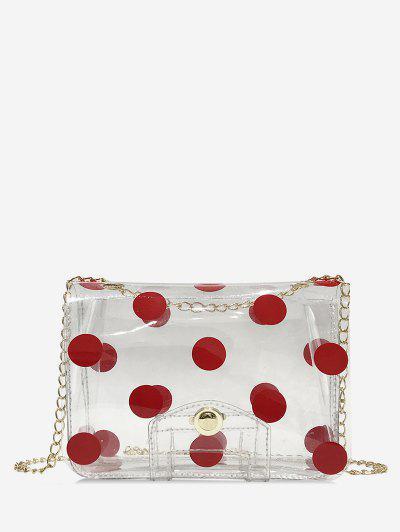 2a6950c06 Transparent PVC Polka Dot Print Square Crossbody Bag - Chestnut Red ...