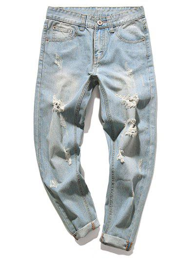 c402b711bef Destroy Wash Faded Scratch Long Straight Casual Jeans - Baby Blue 34 ...