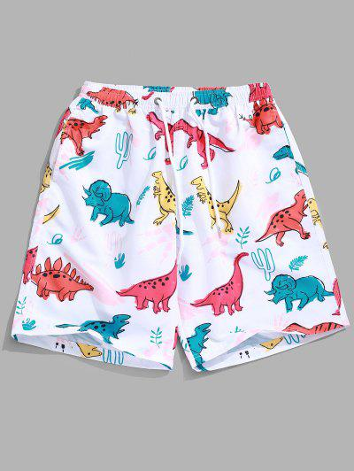 d3430a1942 Animal Dinosaur Plant Print Hawaii Beach Shorts - White M ...