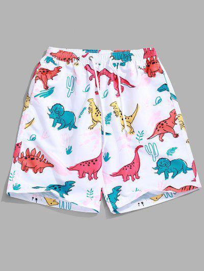 41e3efdbb5 Animal Dinosaur Plant Print Hawaii Beach Shorts - White M ...