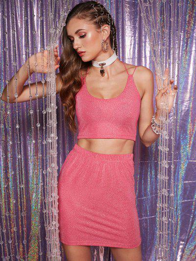 ZAFUL Glittery Crisscross Metallic Thread Two Piece Dress - Hot Pink S