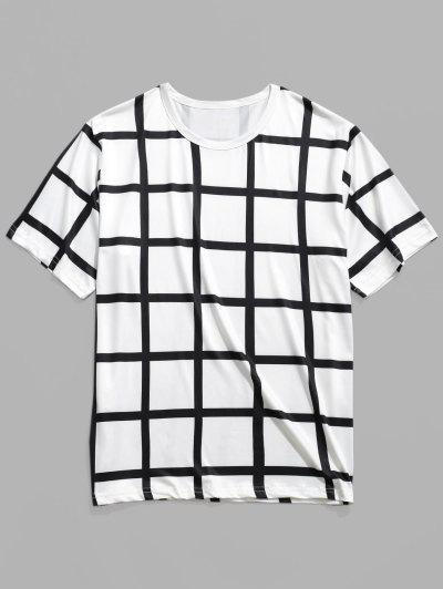 00e08035eb Allover Plaid Print Casual Short Sleeves T-shirt - White - White 2xl ...
