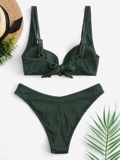 b39a52a1201e ... Costume Da Bagno Bikini A Costine Con Scollo A V Tubolare ZAFUL - Verde  Foresta Medio M