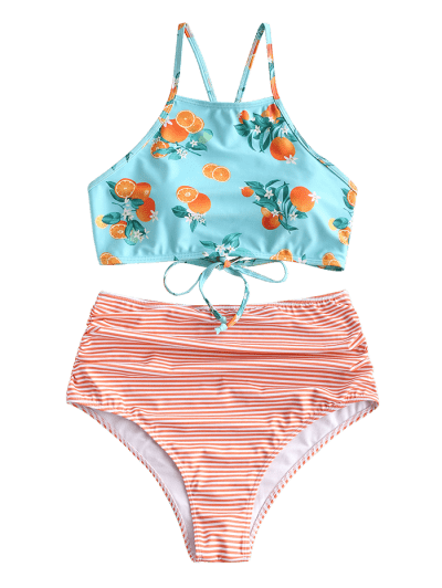 ZAFUL Striped Orange Print Criss Cross Tummy Control Tankini Swimsuit, Multi-a