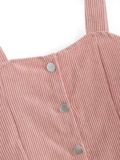 Button Up Corduroy Mini Pinafore Dress, Pig pink