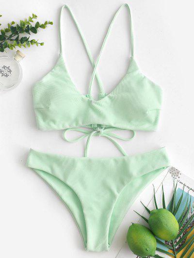 ZAFUL Criss Cross Textured Padded Bikini Swimsuit - Mint Green M