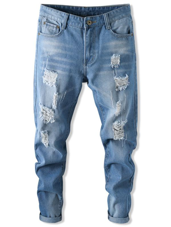 Long Straight Scratch Ripped Casual Jeans фото