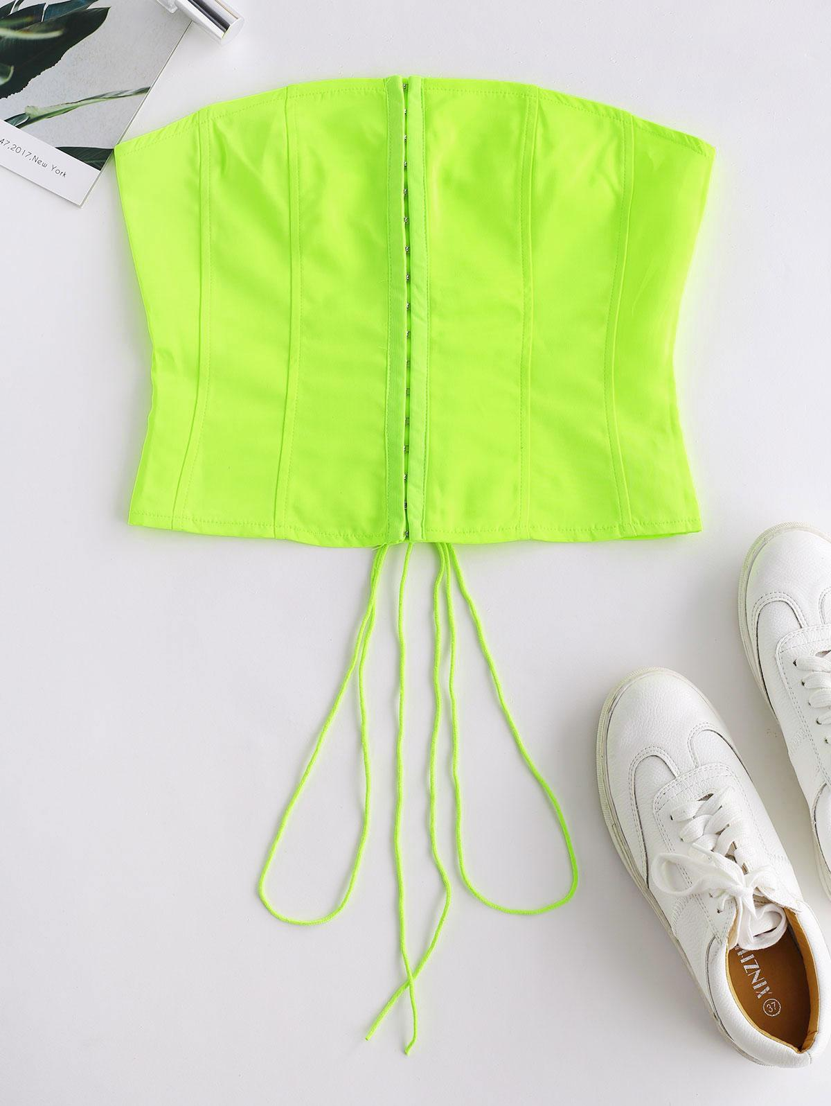 Hook And Eye Lace Up Neon Bandeau Top thumbnail