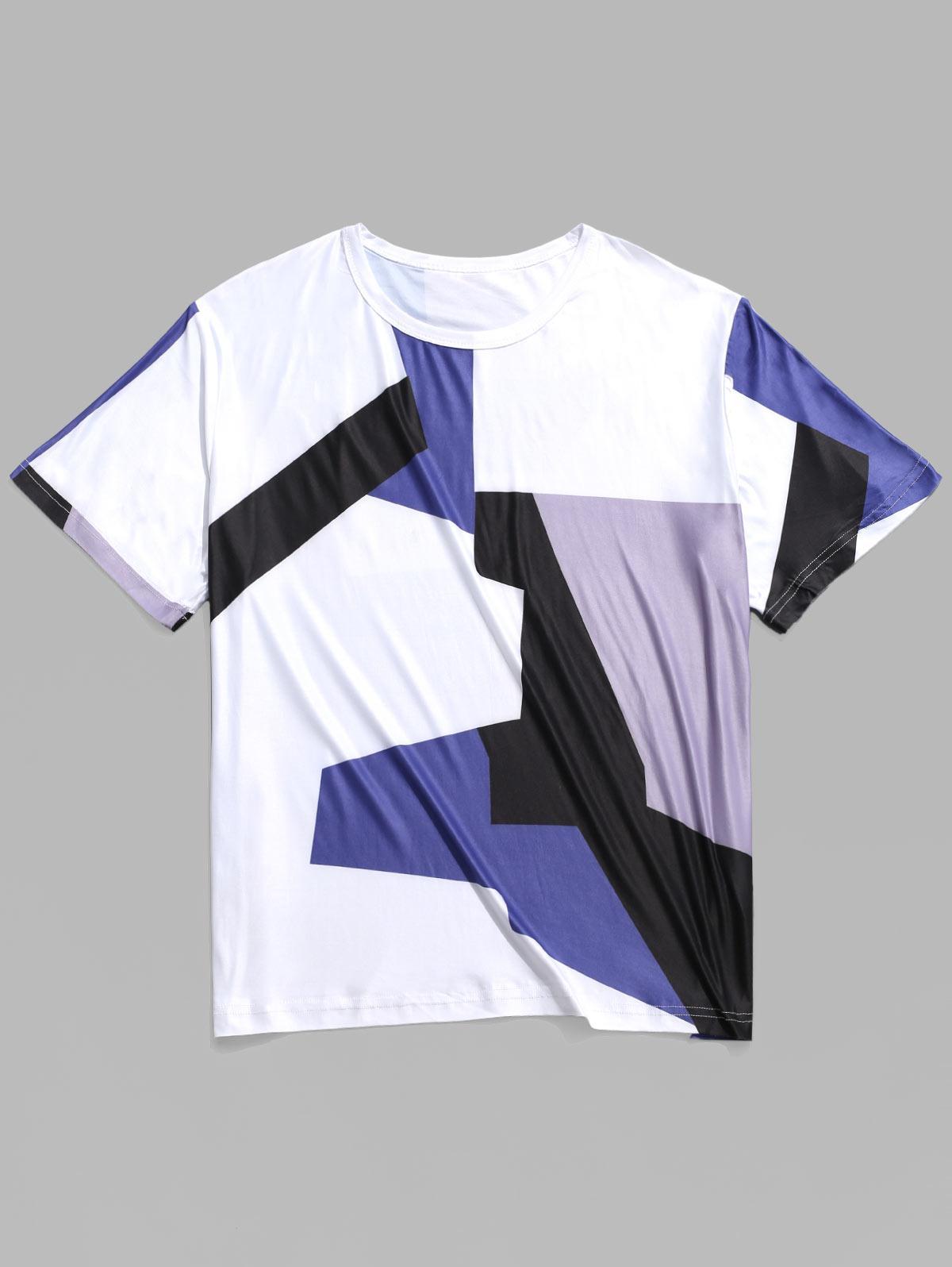 Geometriche di Colore Blocco Pannello Casual T-shirt