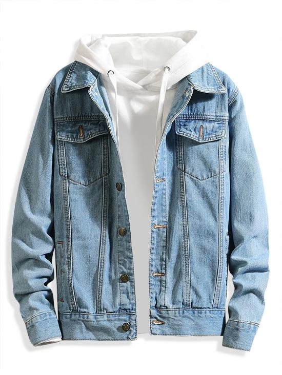 Chest Pocket Solid Color Casual Denim Jacket, Light blue